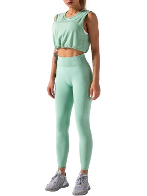 Light Green Ankle Length Running Suit Solid Color Fashion Style