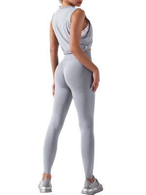 Seamless Light Gray Tank Top High Waist Leggings Absorbs Moisture