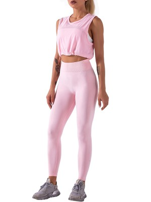 Pink Sleeveless Pleated Sweat Suit Crew Neck For Running