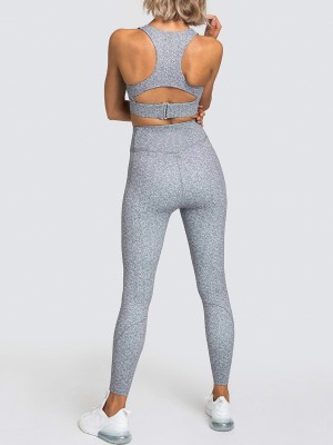 Wide Waistband Gray Running Suit Ankle Length Aerobic Activities
