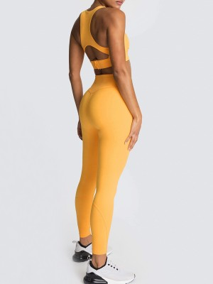 Individualized Orange Yoga Suit Strap Solid Color Cut Out Young Style