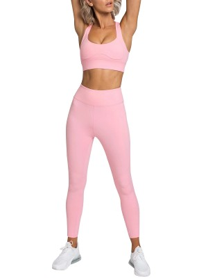 Running Suit Pink Full Length High Waist Stretch