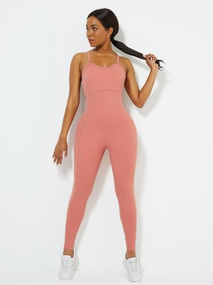 Orange Sports Jumpsuit Solid Color Full Length Workout Apparel