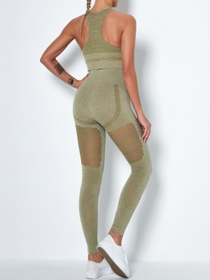 Army Green High Waist Seamless Hollow Yogawear Suit Running Apparel