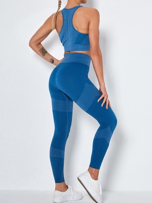 Blue Seamless Sports Bra Ankle-Length Legging For Playing
