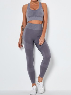 Gray Ankle-Length Removable Pads Yoga Suit Moving Online