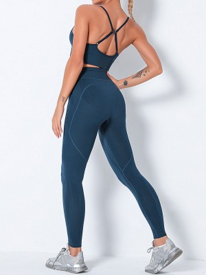 Blackish Green Seamless High Waist Yoga Suit With Pocket Female