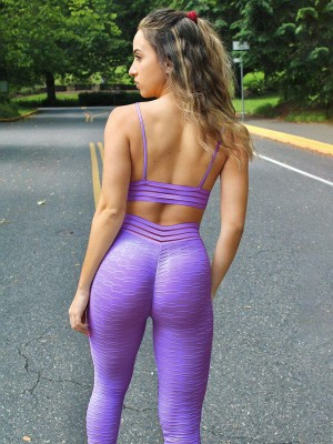 Purple Jacquard Elastic Band Seamless Yoga Suit For Ladies