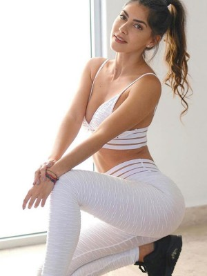 White Jacquard Seamless Yoga Suit High Waist Athletic Outfit