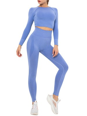 Royal Blue Seamless Crop Top High Waist Leggings Modern Fit