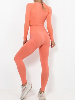 Orange Crew Neck Ankle Length Running Suit Feminine