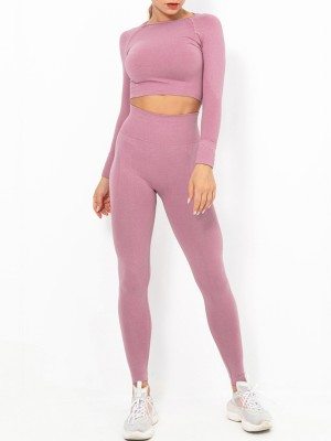 Dark Pink Raglan Sleeve Full Length Athletic Suit Tight