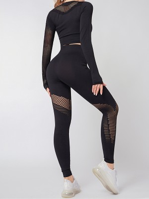 Black Thumb Holes Knit Yoga Suit Round Neck Quality Assured