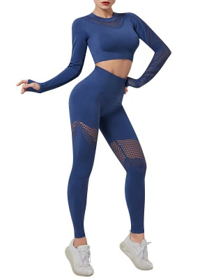 Blue Seamless Thumbholes Yoga Suit High Rise Trendy Style
