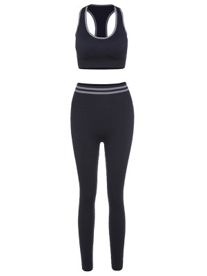 Black Detachable Pads Seamless Yogawear Suit Sensual Silhouette