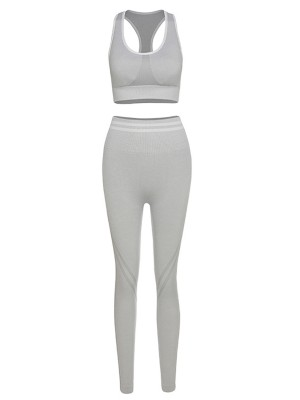 Gray High Waist Seamless Racerback Yoga Suit Distinctive Look