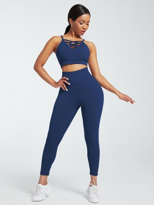 Navy Blue Lace-Up Pleated Gym Sets Full Length Aerobic Activities