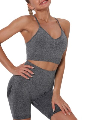 Dark Gray Slender Strap Wide Waistband Sports For Warmup