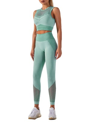 Light Green Hollow Out Full Length Running Suit Absorbs Moisture