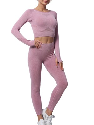 Purple Round Neck Seamless Knit Yoga Workout Set Athletic Outfit
