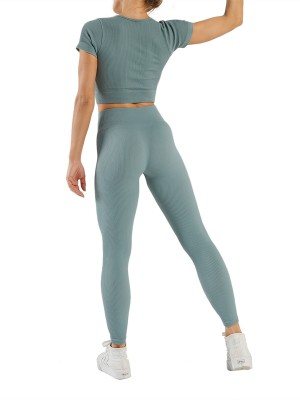 Light Blue Low-Cut Neck Short Sleeves Yogawear Suit For Workout