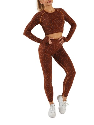 Brown Athletic Set Long Sleeve High Waist Sweat Absorption