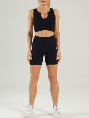 Black Sleeveless Crop Seamless Yogawear Outfit Athletic Outfit