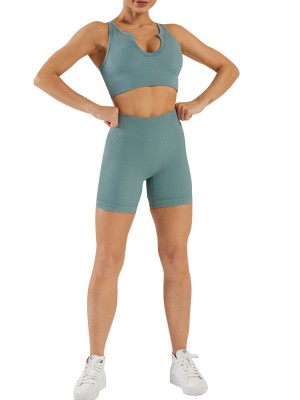 Blue Seamless Yogawear Suit Low Neckline Sleeveless Elasticity