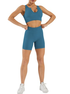 Lake Blue Crop Yoga Shorts Suit Seamless High Waist Absorbs Moisture