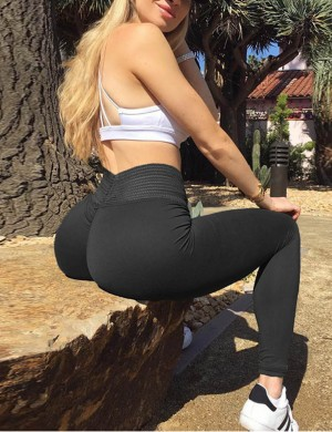 Sports Leggings Push Up Wide Waistband For Woman Individualistic Black Mid Waisted