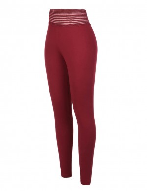 Wide Waistband Butt Lift Tights Mid Rise Athletic Comfort Sensual Silhouette Push Up Wine Red