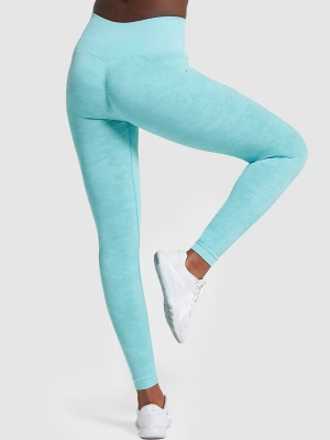 Light Blue Camo Paint Wide Waistband Yoga Leggings Fashion Style
