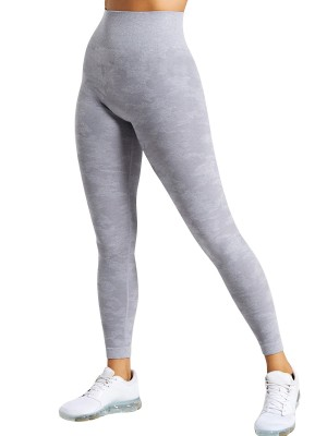 Natural Light Gray High Rise Athletic Leggings Full Length Sheath