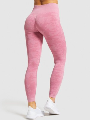 Interesting Pink Sports Leggings High Waist Seamless Quick Drying