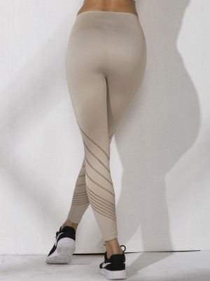 Astonishing Warm White Yoga Leggings Wide Waistband Seamless Fitness