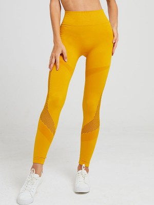 Fitted Yellow Sports Legging Ankle Length Seamless Exercise Outfit