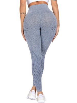 Vogue Blue High Waist Yoga Leggings Full Length Ultra Cheap