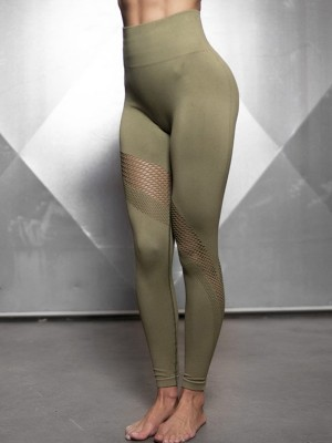 Exotic Army Green Sports Legging Ankle Length Seamless