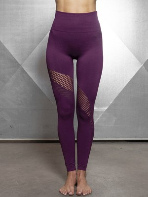 Enticing Purple Ankle Length Hollow Out Sports Legging Ladies