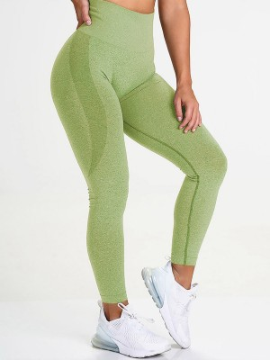 Irregular Green Butt Enhance Full Length Yoga Legging Women