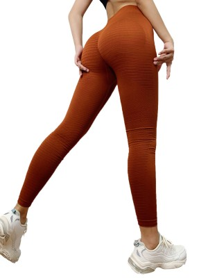 Seductive Khaki Athletic Leggings Solid Color High Rise For Playing
