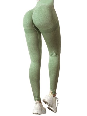 Fabulous Army Green Yoga Leggings Wide Waistband Solid Color Simplicity