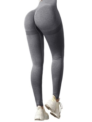 Smooth Dark Gray High Waist Ankle Length Yoga Leggings Slim Fit