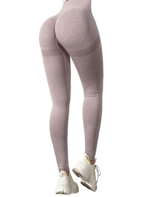 Light Pink Knit High Waist Athletic Leggings Seamless For Running Girl