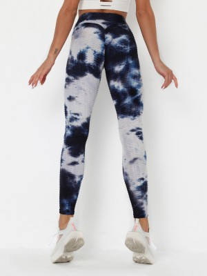 Flexible Deep Blue Tie-Dyed Yoga Leggings Ankle Length Stretch