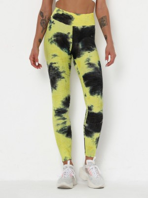 Ruching Yellow Yoga Legging Tie Dyed Tummy Control Running