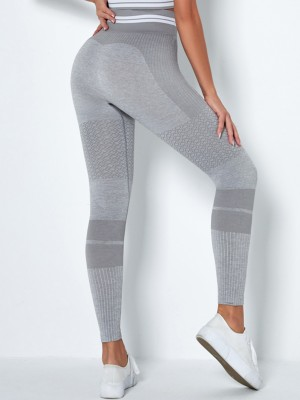 Light Gray High Rise Yoga Leggings Full Length Sweat Absorption
