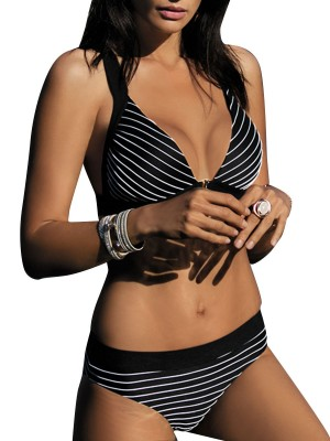 Sassy Black Stripe Print Bra High Cut Bottom Ladies Grace