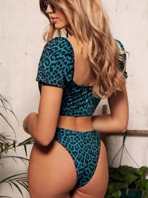 Feisty Blue Leopard Print Bikini Front Zipper Beach Stunner