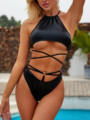 Chic Black Serpentine Print Bikini High Waist Beachwear